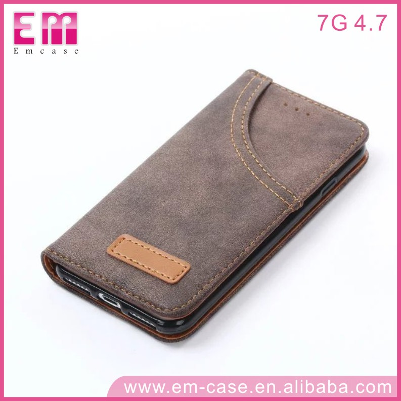 Jeans Mobile Phone Cover For iphone 7 7plus Cowboy Cloth insert card Wallet Case