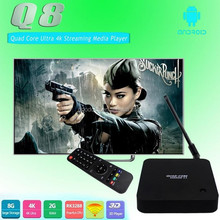 Q8 20-6R Android TV box RK3288 Quad Core 1.8Ghz 2G/8G 4K Media Player with Antenna for 2.4G+5G Dual band