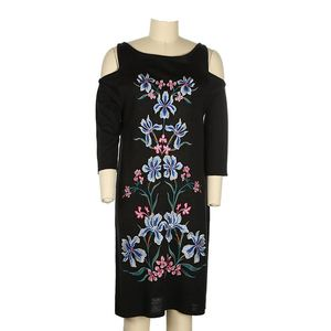 Customized girls embroidery party night hollow black one piece dress