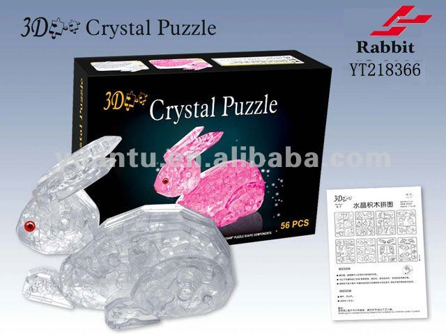 Plastic PS DIY 3D crystal rabbit puzzle