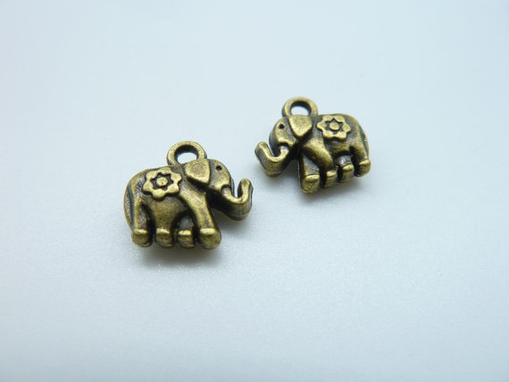 Hot Diy Jewelry Findings Wholesale 12x12mm Antique Bronze Lovely Mini Elephant Charm Pendant c1660 Necklace Handmade