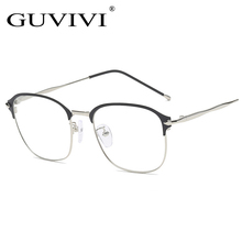 GUVIVI frame optical metal semi-rimless optical eyeglasses vintage 2018 new flat frame glass