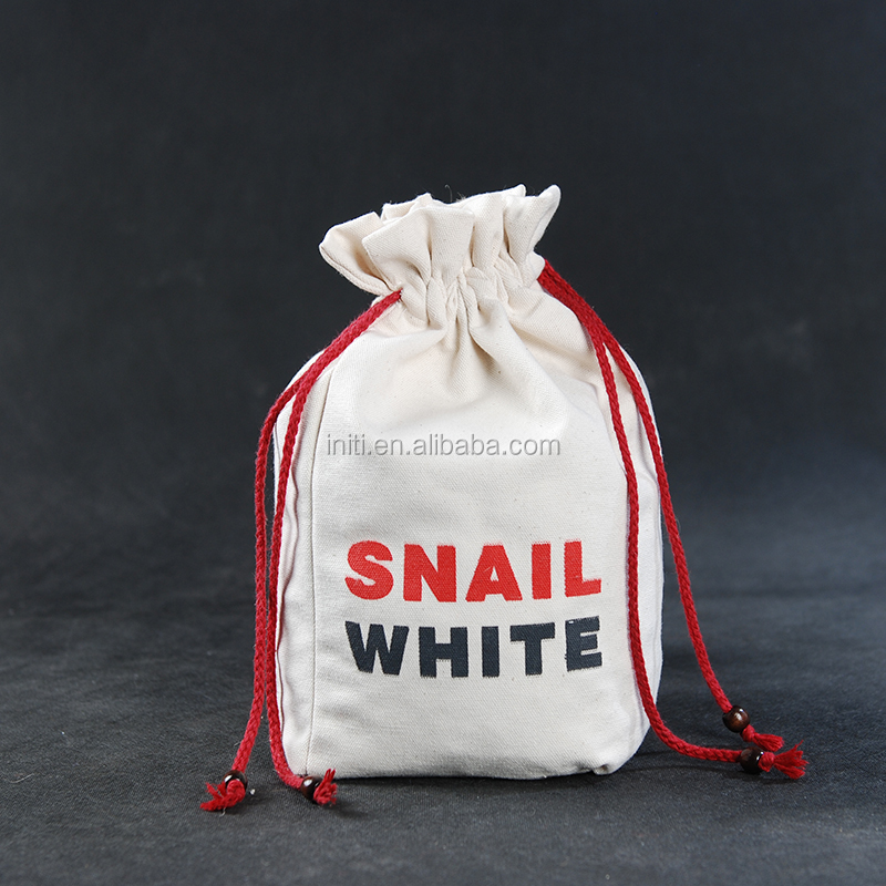 Custom printed small cotton muslin drawstring bags