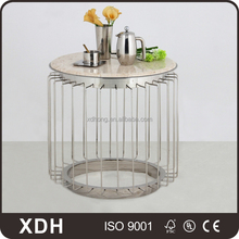 High quality cheap round glass top metal coffee table