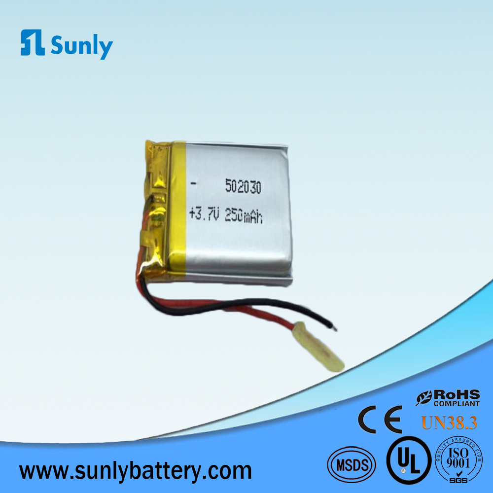 502030 recharge 3.7v 250mah lithium polymer battery pack for smart watch