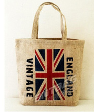 Eco Jute Storage Handbag the UK Britain England flag Shopping Tote shoulder jute bag