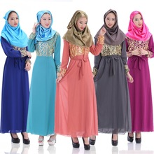 2015 Latest Fashion Long Sleeve Chiffon Muslim Abaya Dress