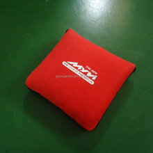 promotion blanket in pillow polar fleece red embroidery logo travel pillow blanket