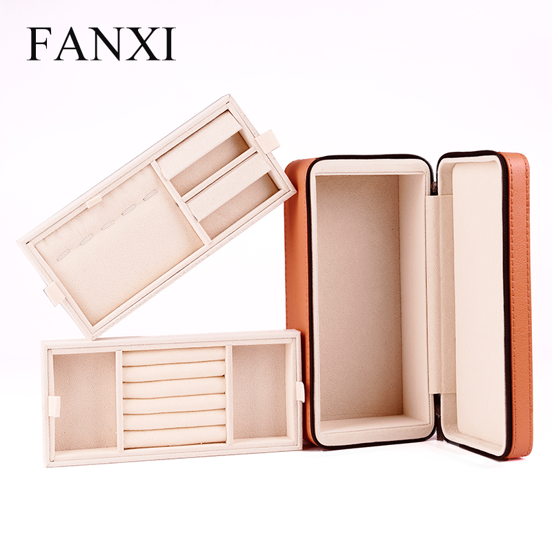 FANXI China Manufacturer Luxury PU Leather Jewellery Organizer Box Velvet Carry Case For Jewelry