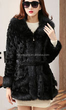 Black Canadian Fox Fur coat , latest design top quality