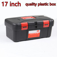 17 Inch Black Plastic Tool Box Household Hardware Electrical Maintenance largeTool Box