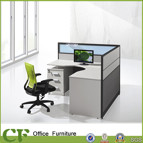 L shape single seat fabric office client workstation/thin client workstation