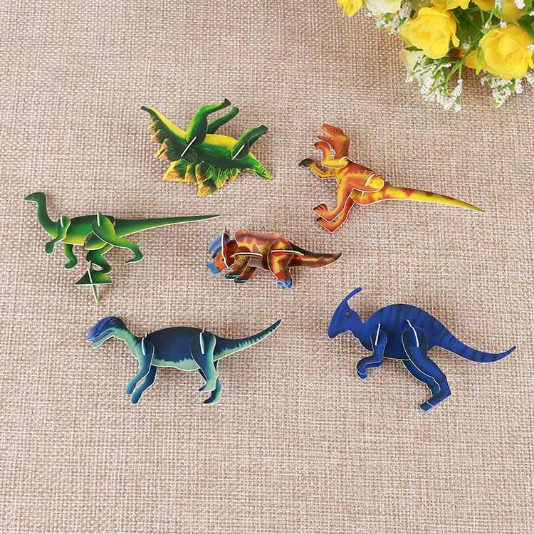 New coming special design dinosaurs any shape kids toy 3d puzzle cards
