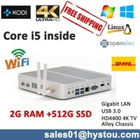Fanless mini pc Intel Core i5 commercial pc Small Household pc Dual Core Mini Computer 2G RAM 512G SSD