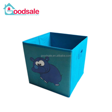 Blue Elephant Printing Pattern Collapsible Storage Cube Case Box