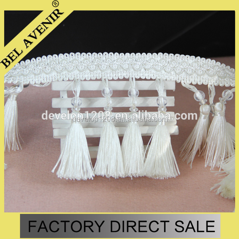 2015 indian curtain and lampshade cotton beaded fancy fringe