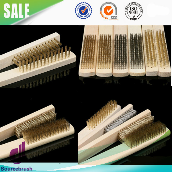 wooden handle stainless steel wire polishing scratch brushes with high quality