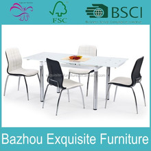 fashion modern white painted meatal glass expandable dining table with chromed leg