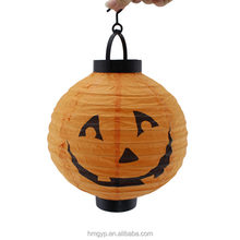 halloween decoration custom printed round paper pumpkin lantern