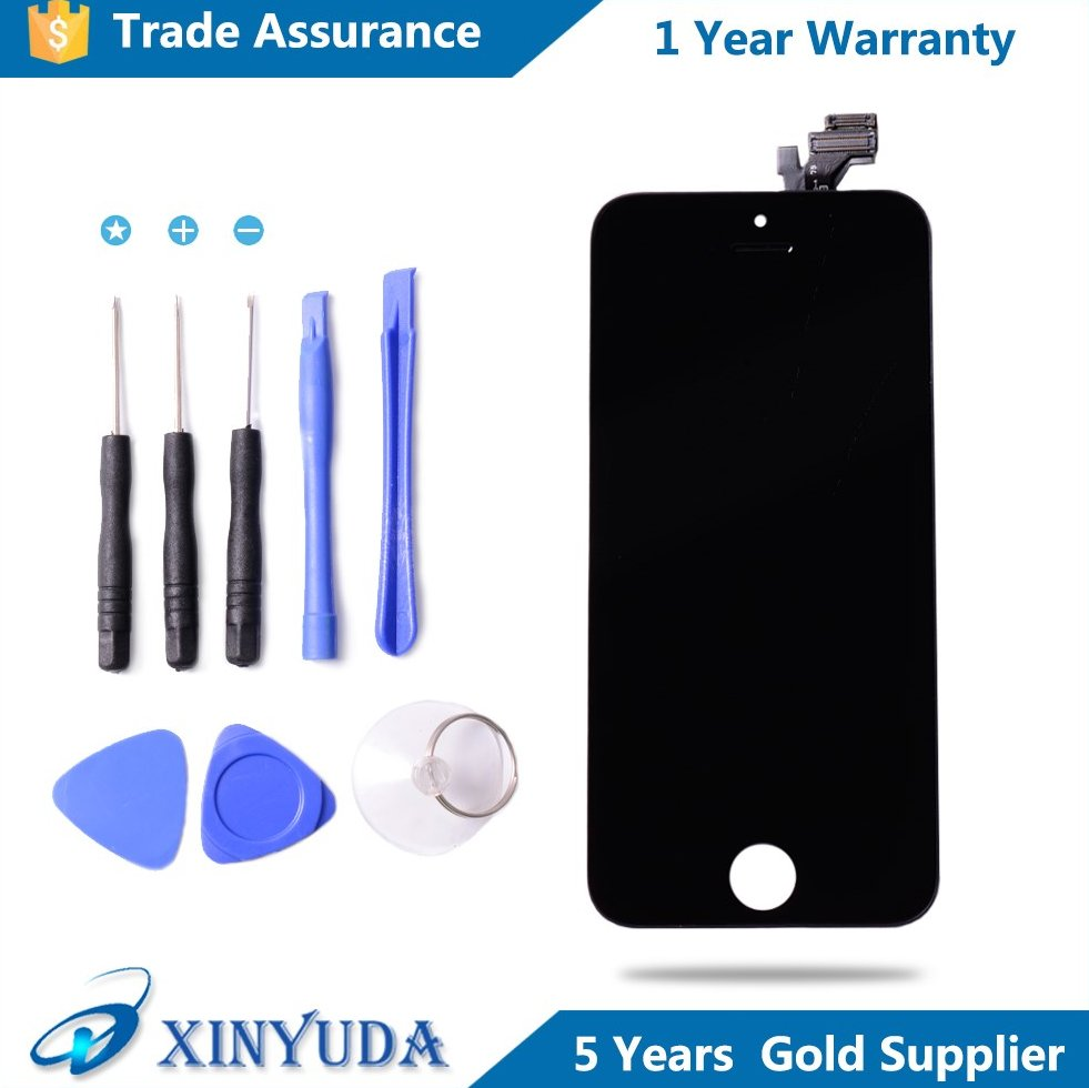 12 months free guarantee mobile phones assembly display LCD touch screen digitizer for iPhone 5
