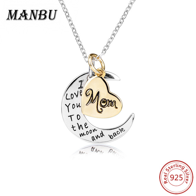 "925 sterling silver <strong>jewelry</strong> 'i love you to the moon and back "" moon and star pendant necklace JN7627-S"