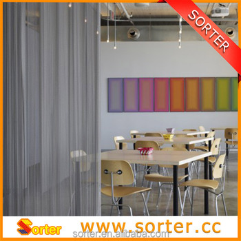decorative metal drapery for wall partition