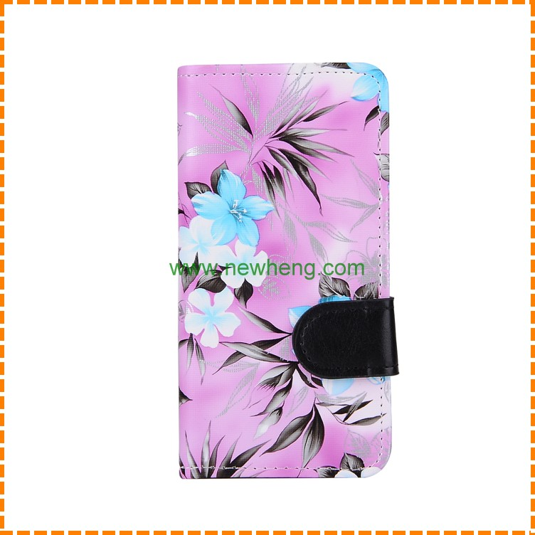 Wholesale flower painting high quality PU leather folio stand case cover with card slot for iPhone 6/6s plus