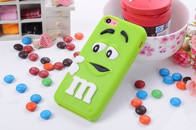 Lovely 3D cartoon cute M&M Chocolate jelly Bean Silicon Case for iphone 5C,50pcs/lot