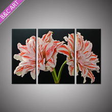 Newest 3 Piece Canvas Wall Art Red White Flower Acrylic Lily Painting with Stretcher Bar