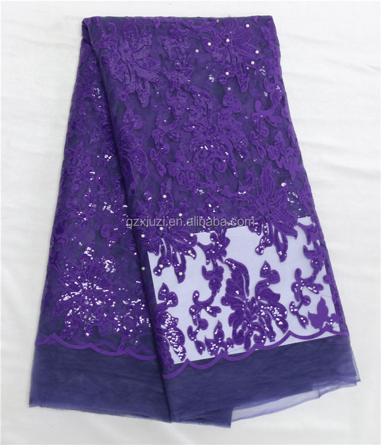 Nigerian Lace Styles Purple Lace Fabric/African French Net Lace Beads/Sequins Tulle Lace Fabric For Evening Party Dresses