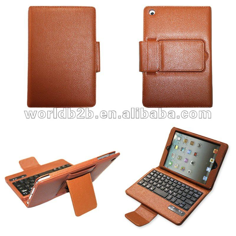 Bluetooth plastic Keyboard Leather Cover Case for iPad Mini with stand,keyboard is removable,high quality