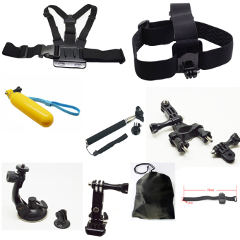 Go pro Accessories Kit 9 in 1 Kit Chest Head Strap Floating Grip Handlebar Seatpost Monopod Suction Cup For Go Pro camera