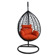 Patio hanging rattan swing egg chair with stand