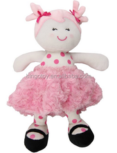 2016 high quality wholesale plush toy educational toy/lovely pink dress dolls boy and girl doll