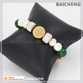 Luxury design bracelet with steel charm Noble jewelry bracelet Emerald ande pearl bracelet