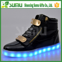 high top low price flashing color changing 2016 led shoes