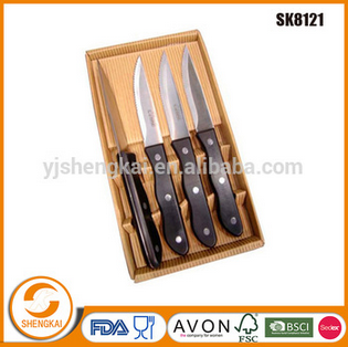 Stocked 7pcs stainless steel kitchen cutlery steak knife sets with block