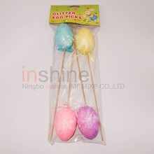 IN53216 4pcs Easter foam egg picks , glitter egg picks