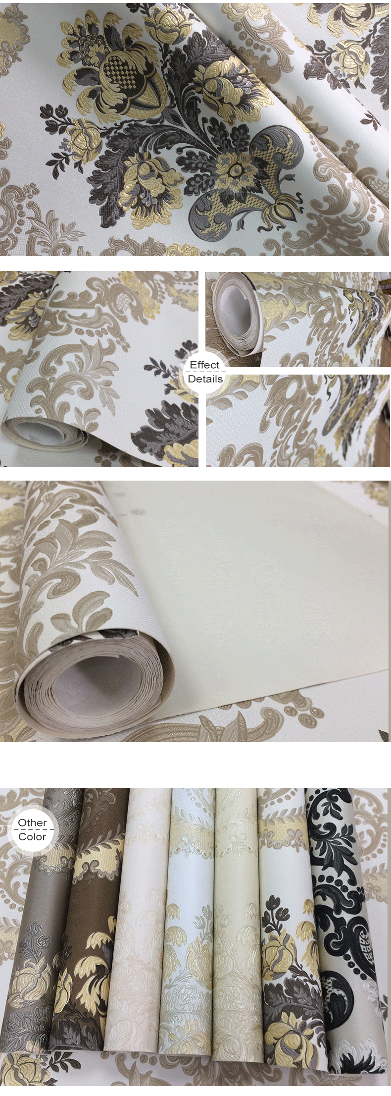 Thick PVC wall paper arabic design with deep pattern for hotle or livingroom