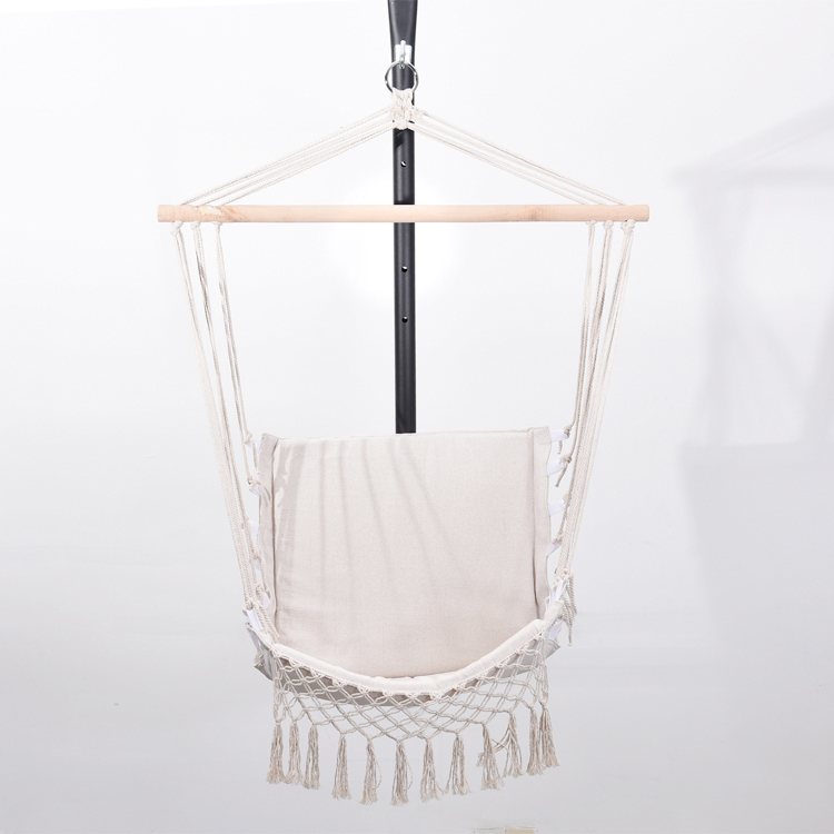 Portable indoor outdoor camping leisure cotton rope porch swing seat canvas tassel hammock swing chair
