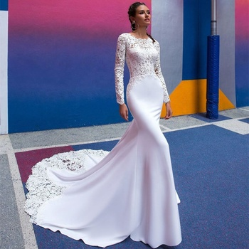 Simple Bridal Dress Mermaid Wedding Dresses 2019 Long Sleeve Bridal Gowns Africa Wedding Gowns Cheap Wedding Dress A252