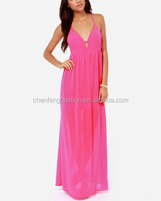 CHEFON Spaghetti strap plunge neck sexy open back backless maxi fuschia pink dress