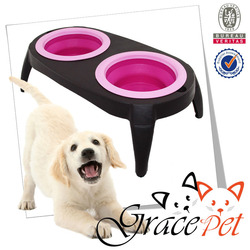 Dog raised feeder / dog elevated feeder with rubber bowls