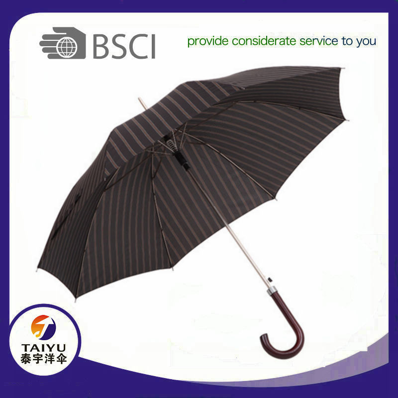Top quality black straight auto open umbrella walking stick