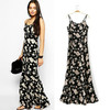 fashion dress 8095 # new European style black harness dress printed rayon dresses
