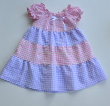 Boutique Handmade Frock Baby Pink Blue Gingham Short Sleeves Dress