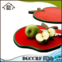NBRSC Reliable Company Fruit or Vegetable Plastic Apple Shape Cutting Board with Lip
