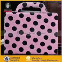 polka dot fur leather folio Case for Apple iPad 2 3 4