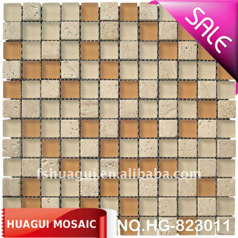 Natural Yellow/Gold Travertine mix Frosted/Matte glass Mosaic/Mosaico House wall tiles manufacturer/factory in Foshan, China