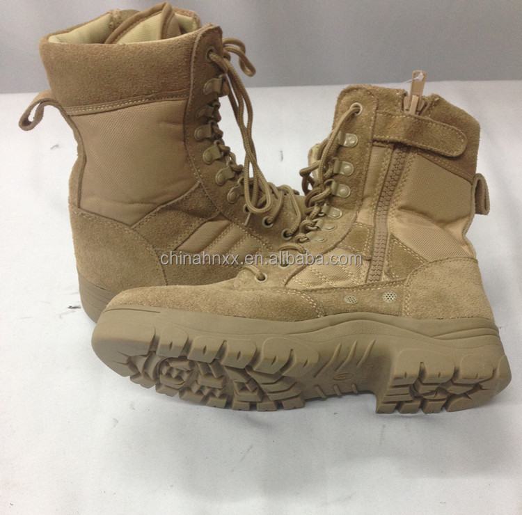 cow grain leather with mesh nylon upper military combat boots